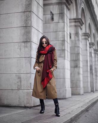 coat tumblr camel camel coat trench coat oversized scarf boots black boots ankle boots sunglasses