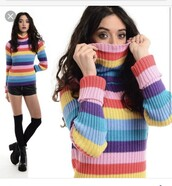 sweater,colorful,90s style,turtleneck,tumblr outfit,gay pride,cute top,cute,grunge