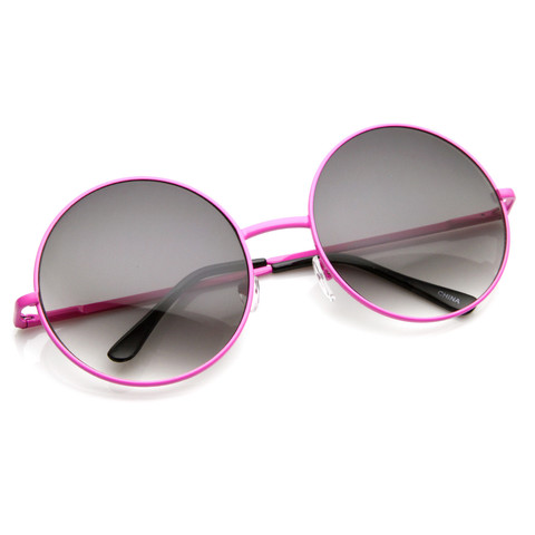 Womens Retro Oversize Metal Round Circle Sunglasses 8904                           | zeroUV
