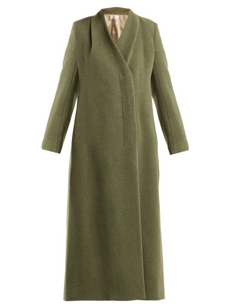 The Row - Nalty Double Breasted Wool Blend Coat - Womens - Green