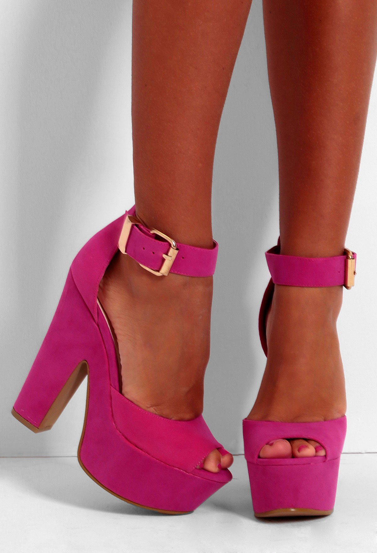 Bright Pink Platform Heels - Is Heel