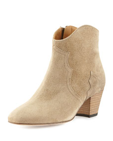Isabel Marant Dicker Suede Ankle Boot, Taupe