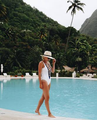 swimwear hat tumblr dress one piece swimsuit white swimwear sun hat pool