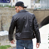 jacket,maniere de voir,ribbed,leather,biker,studded,black,36683