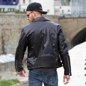 jacket maniere de voir ribbed leather biker studded black 36683