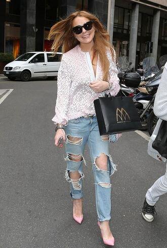 blouse lindsay lohan pumps ripped jeans denim jeans