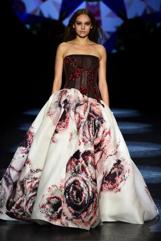dress strapless bustier gown prom dress wedding dress fashion week 2016 runway model ny fashion week 2016
