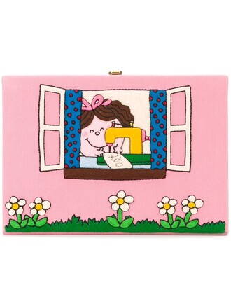 book clutch purple pink bag