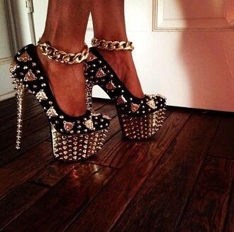 shoes high heels pumps spiked shoes black gold chains heels platform shoes blackheels