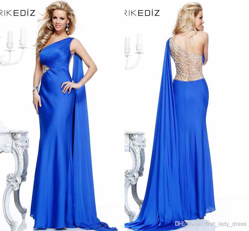 Cheap Blue Evening Gown - Discount Tarik Ediz One Shoulder Hollow Back Blue Sheath Online with $119.43/Piece | DHgate