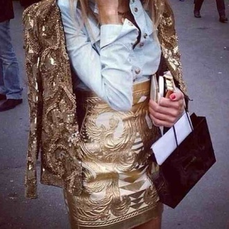 jacket gold gold sequins gold details embroidered suits skirt embroidered jacket