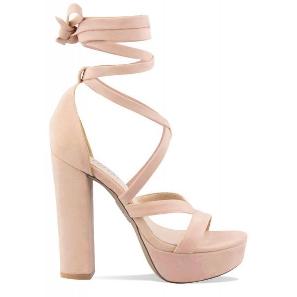 b14782d6bf80 Amelia Nude Suede Lace Up Platform Heels   Simmi Shoes - Love ...