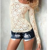 white lace,tank top,t-shirt,lace,top,cream,long sleeves,white,shorts,shirt,blouse,lace blouse,lace shirt