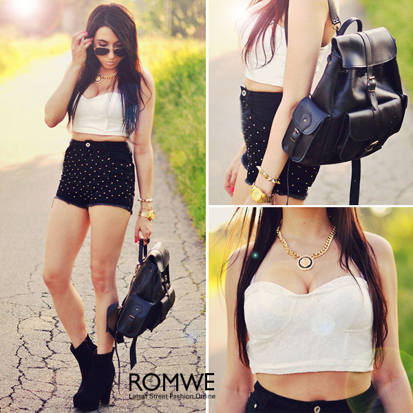 ROMWE | White Lace Bandeau, The Latest Street Fashion
