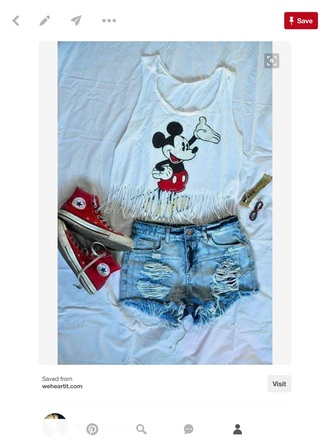tank top mickey mouse top black red white cute 💖💖💦💦
