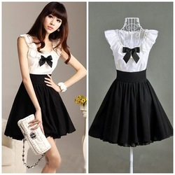 Online shop new 2014 black white color patchwork ruffles collar bow knee