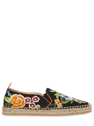 embroidered espadrilles silk black shoes