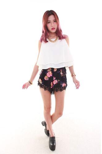 shorts black bottoms floral highwaist shorts lace shorts bikiniluxe