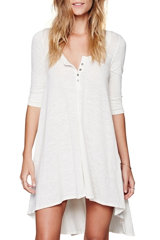 dress white white dress assymetrical zipper buttons three-quarter sleeves hippie minimalist casual zaful hipster summer urban