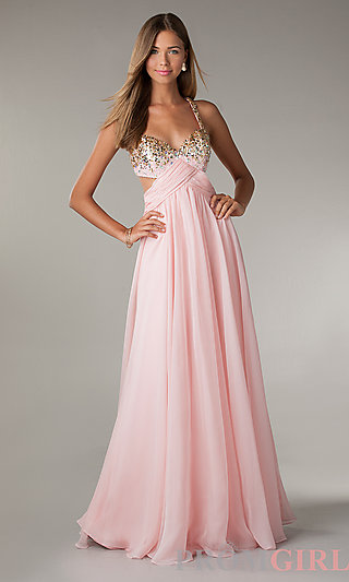 Long Cut Out Prom Dresses, Flirt Long Gowns for Prom- PromGirl