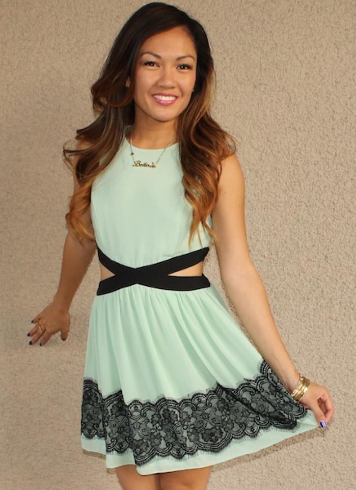 Side cutout 'ashley' dress (mint)
