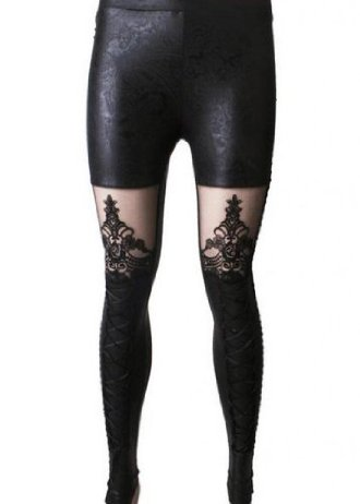 Punk Rave Women's Victorian Style Macbeth Leather Look Leggings with Lace : Black Label