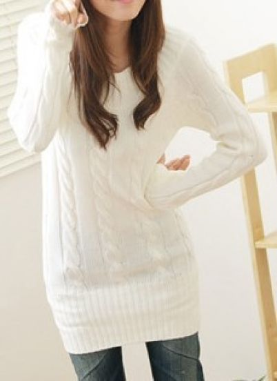 Long Sleeve Serratula Pullovers Sweater - Sheinside.com