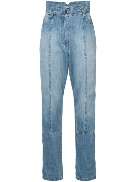 jeans high women cotton blue