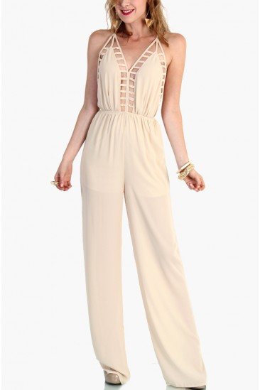 LoveMelrose.com From Harry & Molly | Open Back Pantsuit - Ivory