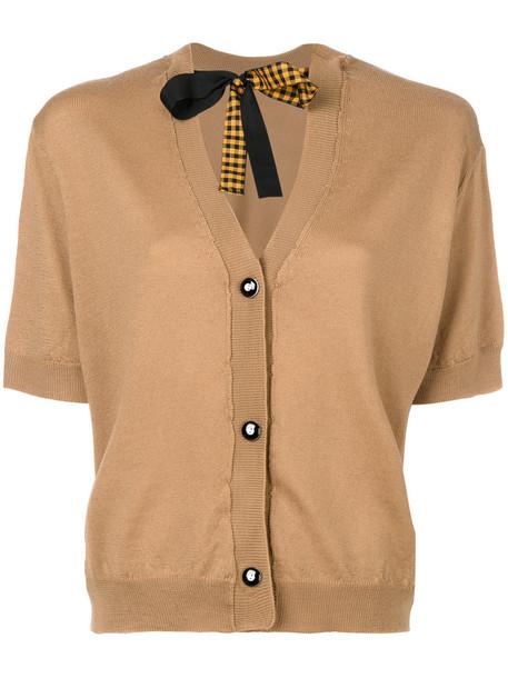 Miu Miu cardigan cardigan bow women silk wool brown sweater