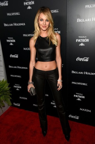 top black leather crop tops candice swanepoel victoria's secret red carpet