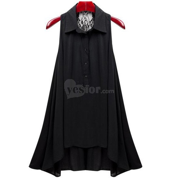 New Korean Womens Slim Chiffon Tank Tops Sleeveless Shirt Blouse Black , unit price of $12.99 only - Yesfor.com