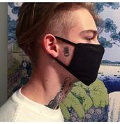 hair accessory,mask,mouth mask,black