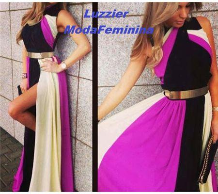 Vestido Longo Tricolor por R$ 220,00 | Feira PopBox
