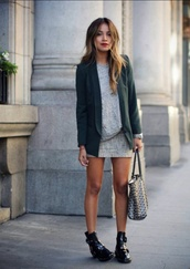 dress,grey,bag,blasseur,coat,green,pretty,fall outfits,t-shirt,skirt,fashion,zara,shoes,boots,clothes,heels,white,black,streetstyle,heels on gasoline,white dress,sincerely jules,jacket,street,style,lookbook,shiny,beautiful,casual