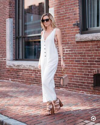 pants tumblr white pants white jumpsuit sandals sandal heels high heel sandals sunglasses bag nude bag