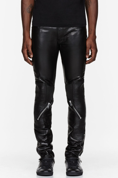 7ce96300ced Saint Laurent Black Leather Ribbed and Zippered Biker Pants in Black for Men  | Lyst