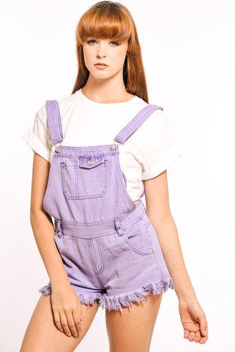 Chloe Denim Dungarees in Purple - Pop Couture