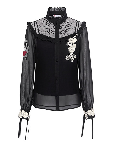 RED VALENTINO blouse chiffon blouse chiffon embroidered lace black top