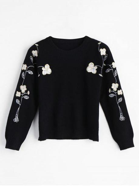 sweater floral black cute girly embroidered