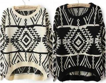 Tribal pattern knitted pullover swe..