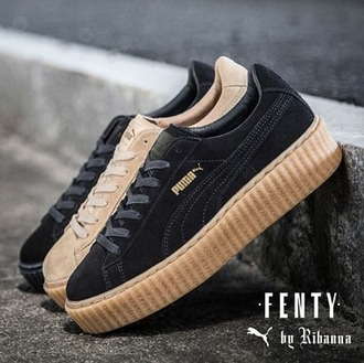 shoes rihanna x pumas the creepers pumas new addition black x gold suede sneakers puma sneakers