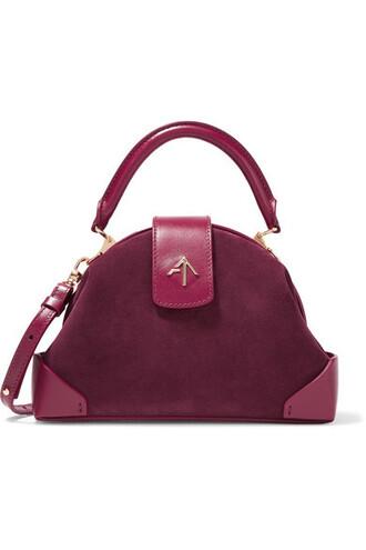 bag shoulder bag leather suede burgundy