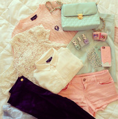 jeans,clothes,pink,blouse,iphone,outfit,style,hair,nails,short,white,sweat,joyful outfits,cute outfits,sweater,purple jeans,shirt,tank top,shorts,bag,top,lace top,white blouse,pink sweater,blue skirt,blue bag