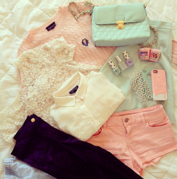 jeans clothes pink blouse iphone outfit style hair nails short jeans white sweat joyful outfits cute outfits sweater purple jeans shirt tank top shorts bag top lace top white blouse pink sweater blue skirt blue bag
