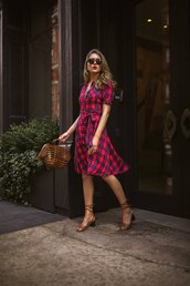shoes,sandals,checkered,bag,midi dress,sunglasses