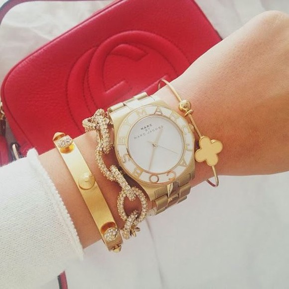 gold jewels watch marc jacobs watch