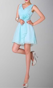 teal dress,v-neck bridesmaid dresses,short party dresses,short prom dress,empire waist dress,chiffon dress,short bridemaid dresses