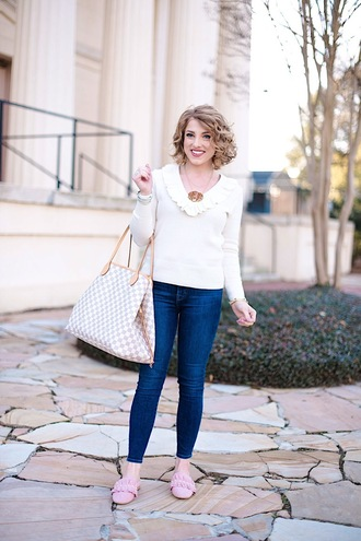 something delightful blogger sweater jeans jewels louis vuitton bag white sweater skinny jeans loafers winter outfits