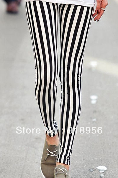 Free Shipping Fashion 2013 Women Black & White Spandex Leggings Zebra Printed Vertical Strip Pants Summer Sexy Leggins 13300 OS-in Socks & Hosiery from Apparel & Accessories on Aliexpress.com